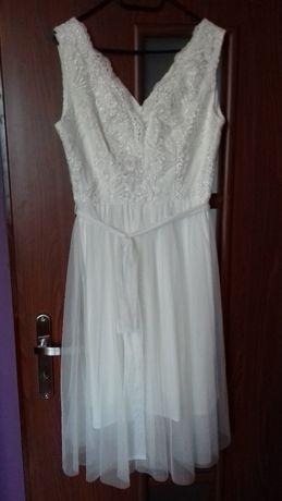 sukienka ecru ślubna i nie tylko krótka