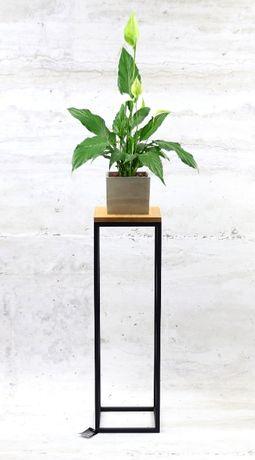 Kwietnik Metalowy Stojak Drewno 80cm czarny LOFT