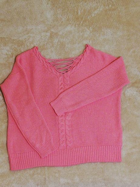 Reserved różowy sweter z dekoracyjnym dekoltem z tyłu rozm. M jak nowy