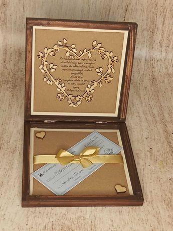 życzenia od rodziców pudełko drewniane czek