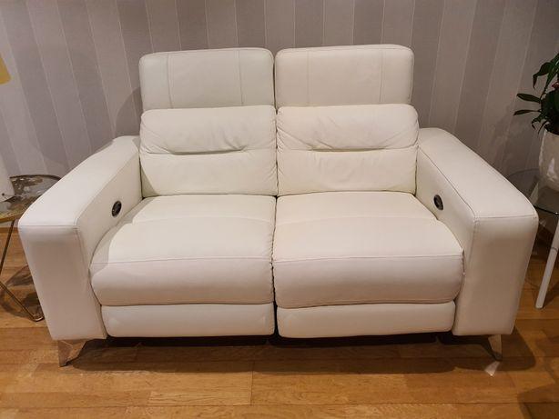 Sofá de 2 lugares relax elétrico em pele Branco (5 meses uso)
