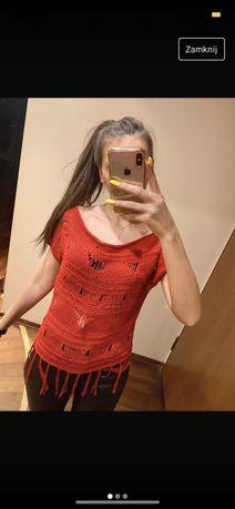 czerwony prześwitujący ażurowy sweterek S na lato