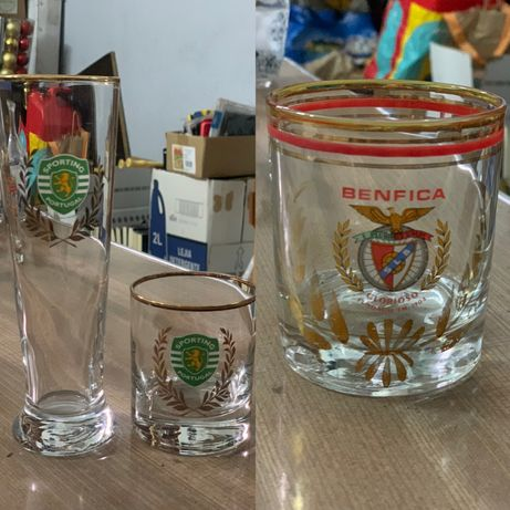 Copos vidro Sporting e Benfica