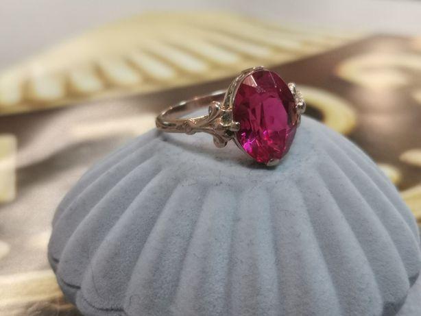 PIĘKNY RETRO stary ruski pierścionek CCCP, radziecki złoto 583