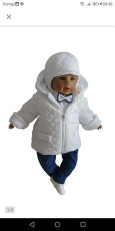 Komplet do chrztu, kurtka + czapeczka
