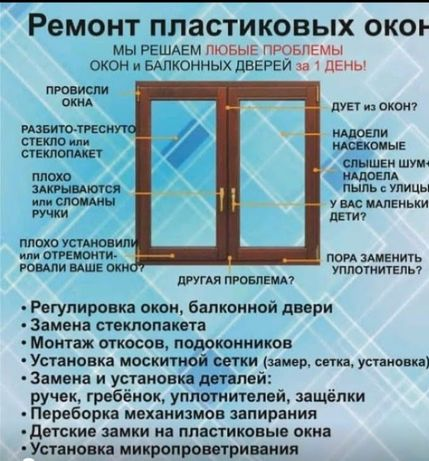 Регулировка и ремонт металопластиковых  окон,дверей за один день.