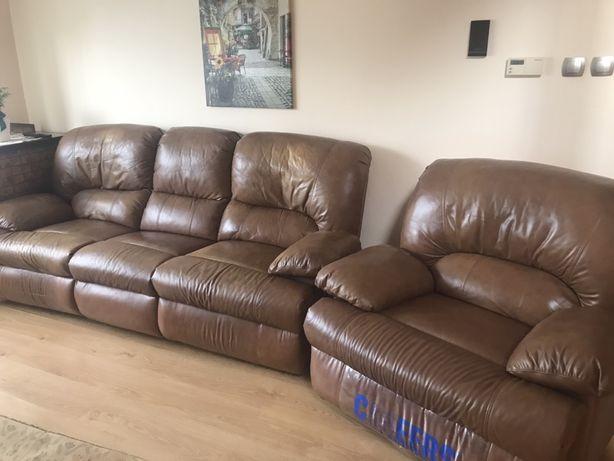 Skórzany wypoczynek z funkcją relaks- sofa i fotele