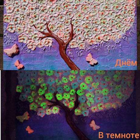 Картина Цветущее дерево светится в темноте (Барельеф)