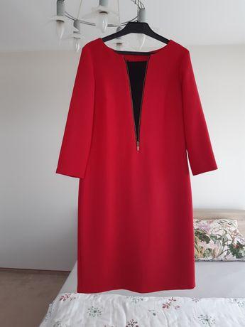 Sukienka na wesele weselna elegancka czerwona dekolt V M L 38 40