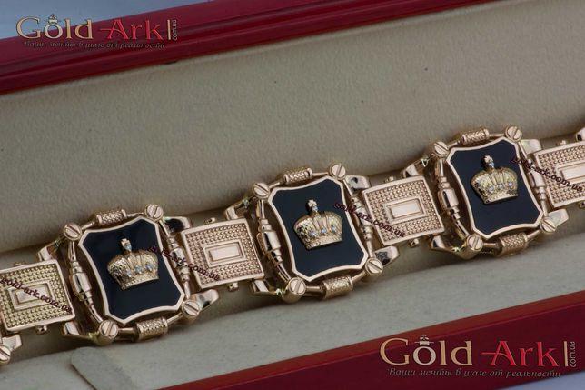 Большой мужской золотой браслет Корона