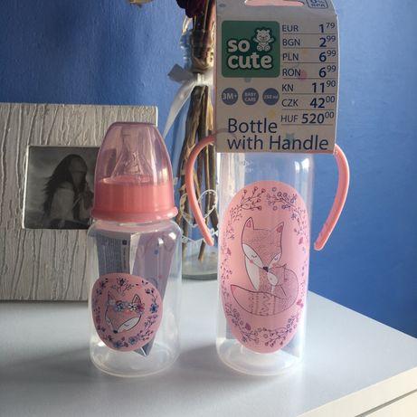 Butelka 150 ml, Butelka z rączką 250 ml różowa dla dziewczynki