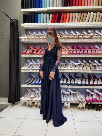 Długa sukienka granatowa z koronką balowa, wieczorowa, na wesele