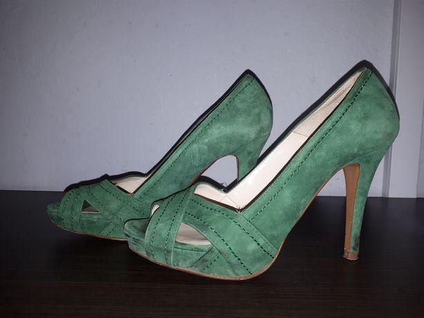 Zielone szpilki Zara 37