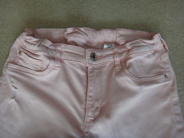 Skinny fit & Denim, H&M spodnie pudrowy róż 152 cm - super!