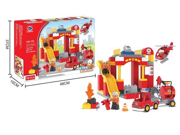 Конструктор KID'S HOME TOYS Пожарная станция и Замок аналог лего дупло