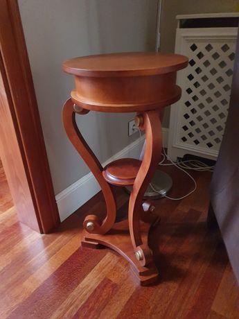 Stolik, okrągły, drewniany, okrągły Biedermeier.