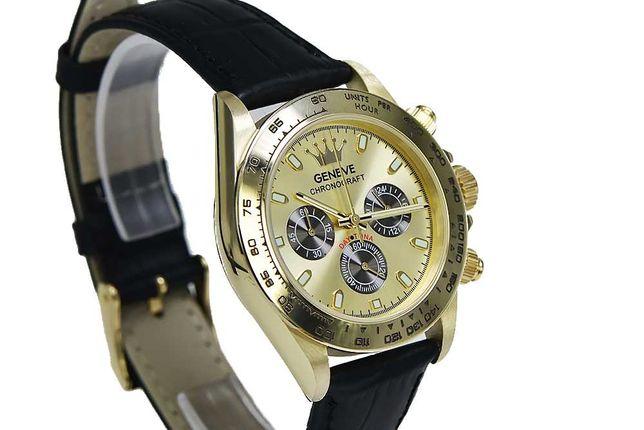 Złoty zegarek męski damski  unisex 14k 585 Geneve styl Rolex mw014y B