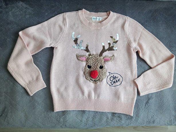 Sweterek z reniferem dla dziewczynki H&M roz 128-134