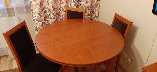 Stół drewniany + 4 krzesła KOMPLET