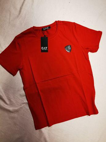 Koszulka męska czerwona znaczek Emporio Armani tshirt męski EA7 nowoś