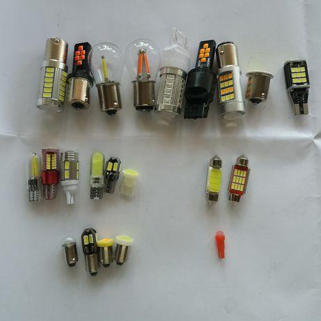 Авто лампочки светодиодные Led P21W 1157, одно двухконтактная, t10 t20