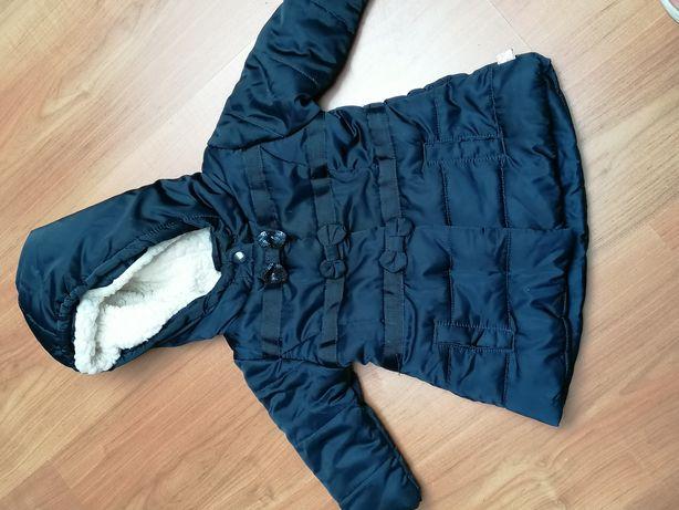 Piekna granatowa kurtka parka 62 ciepła na jesien zimę