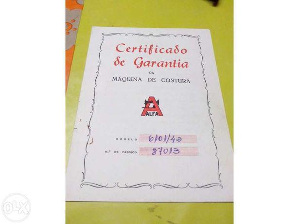 Certificado Garantia maquina Alfa - 1969