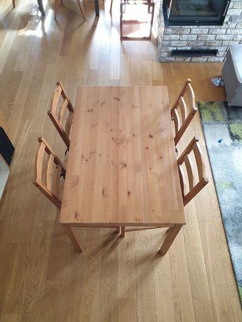 Stół i 4 krzesła, zestaw Ikea Jokkmokk + 2x poduszka na krzesła