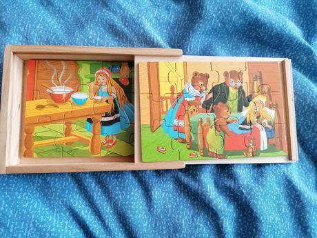 Puzzle drewniane w drewnianym pudełku