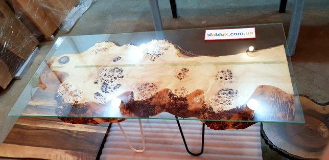 Стол из дерева кавказского капового тополя и каленого термо стекла