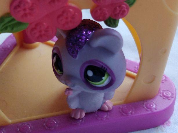 Littlest Pet Shop - LPS - Hasbro -  Fioletowa wiewiórka z brokatem