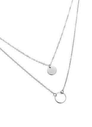 Стильный двойной чокер цепочка в серебре