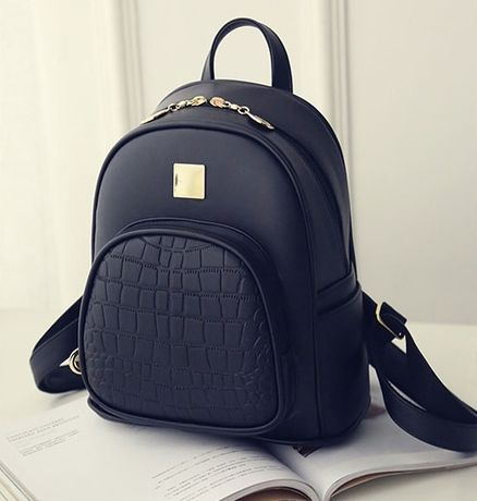 Женский мини рюкзак прогулочный городской рюкзачок кожзам черный новый