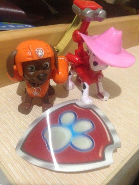 набор фигурок щенячий патруль+ мягкая игрушка гонщик