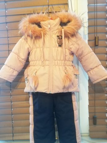 Детский зимний комбинезон костюм на девочку 1-2 года, 86 размер