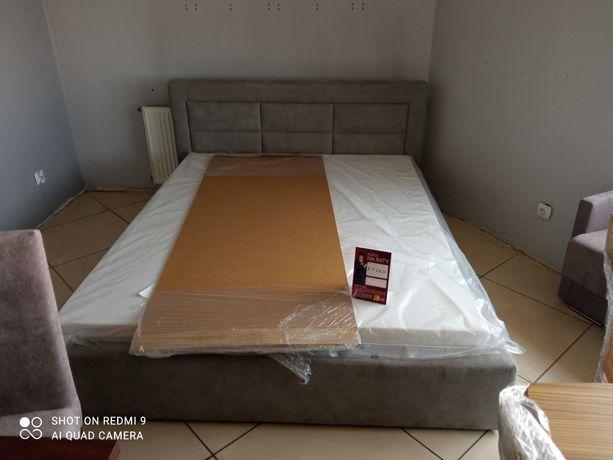 Firmowe Łóżko tapicerowane z materacem sprężynowym SKLEP - WYPRZEDAŻ