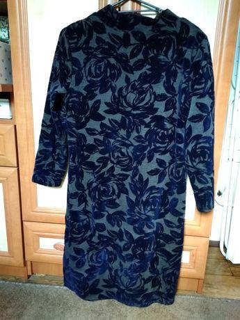 Sukienka kwiaty prosta codzienna do pracy