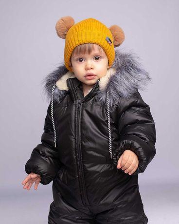 Зимний комбинезон на овчине для мальчика черного цвета