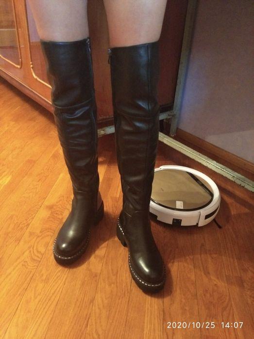 Новые ботфорты нат. кожа ,на ногу 24 см. Херсон - изображение 1