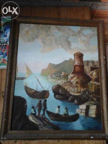Pintura de tela antiga Júlio Santos