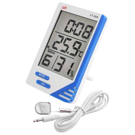 Термометр, гигрометр, часы, будильник KT 908 + выносной датчик