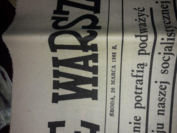 Gazeta antyk PRL Życie Warszawy 1968 r. Stan idealny