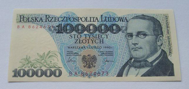 Banknot POLSKA 100000 ZŁ MONIUSZKO - Z PACZKI Bankowej Kolekcjonerski