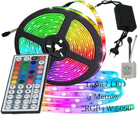 Taśma LED 5 Metrów RGB+W 5050 Pilot ,Sterownik,Zasilacz Wodoodporna