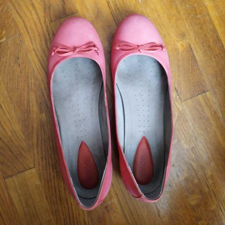 Рожеві шкіряні балетки ecco (р. 40)