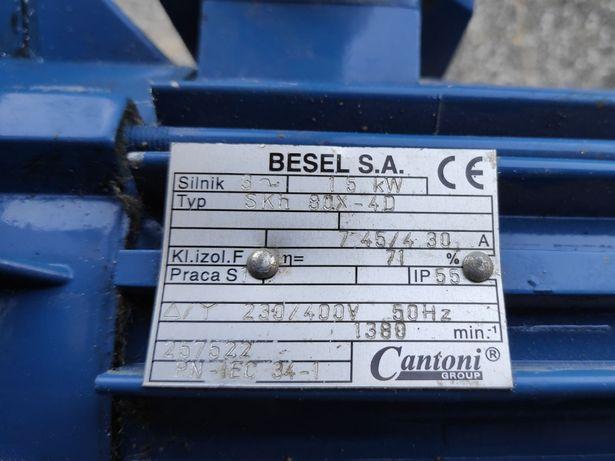 Silnik 1.5kW 3 fazy wałek 19mm kołn. B5 1400 obr/min- Besel SKH 80X-4D