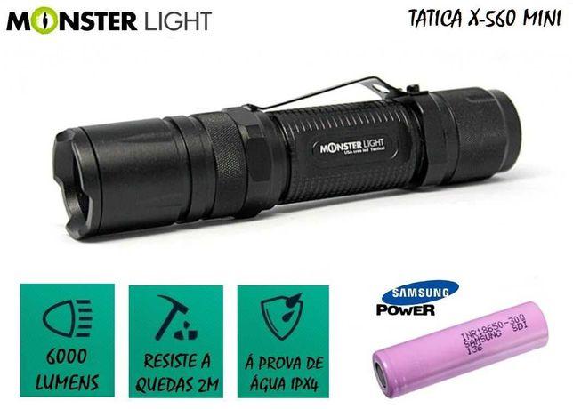 Kit lanterna tatica MonsterLight X-560Mini bateria Samsung 6000 lumens