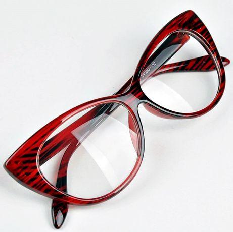 okulary damskie zerówki oprawki kocie oczy cętki modne retro czerwone