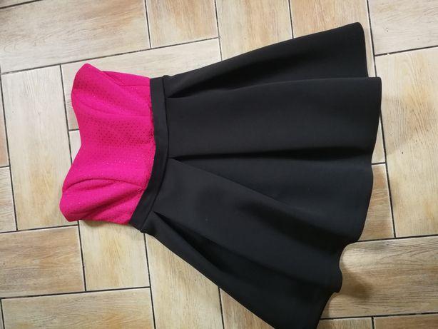 Różowa czarna sukienka rozkloszowana - koło - pianka M L 40
