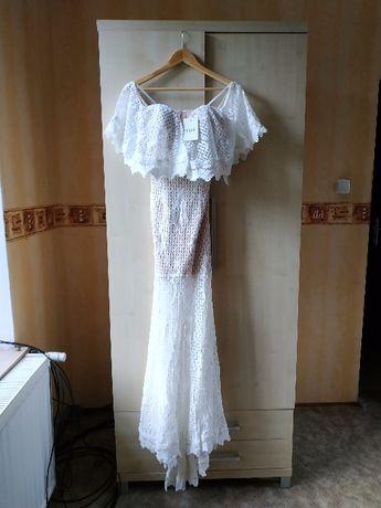 Jarlo NOWA S rustykalna suknia ślubna biała koronkowa